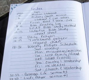 Prayer journal index