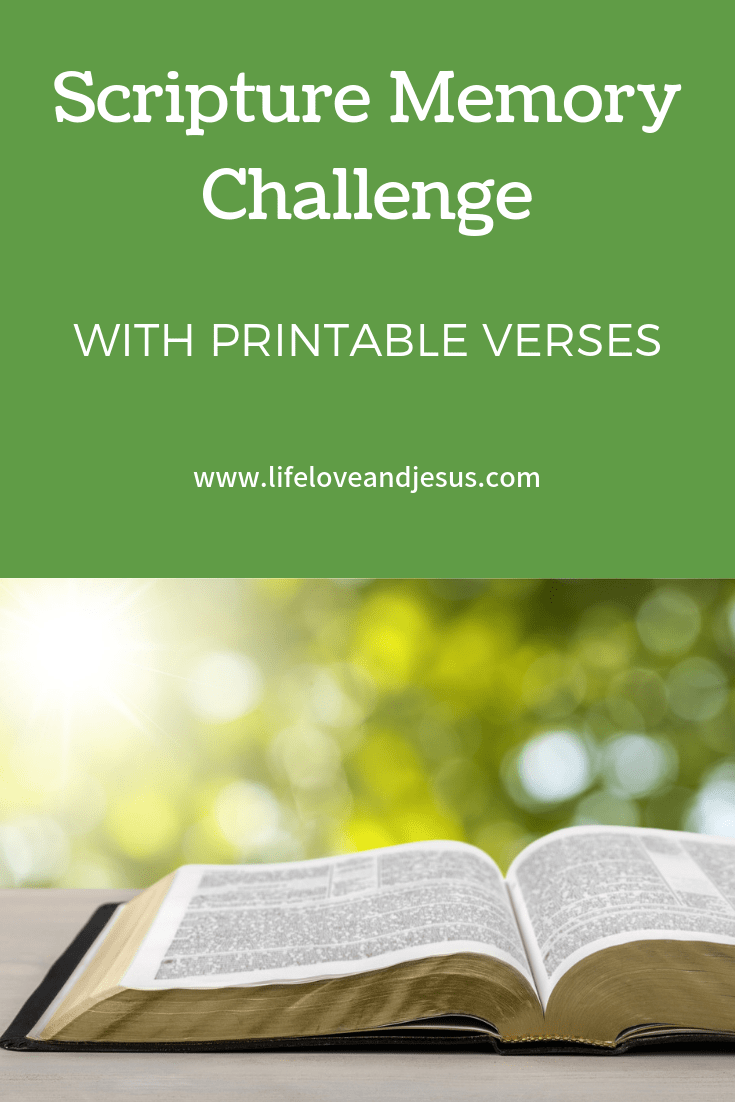 Scripture memory challenge - the how, the why, and a closer look at Jesus. Get free printable verses on God's Word to memorize this month.
